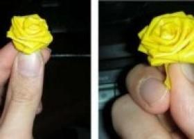 Cách làm hoa hồng bằng ruy băng