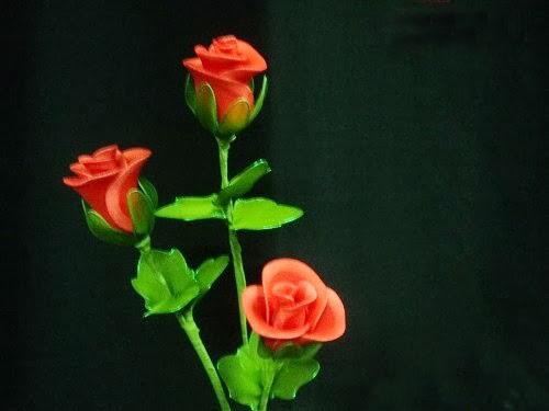 cách làm hoa hồng bằng vải voan