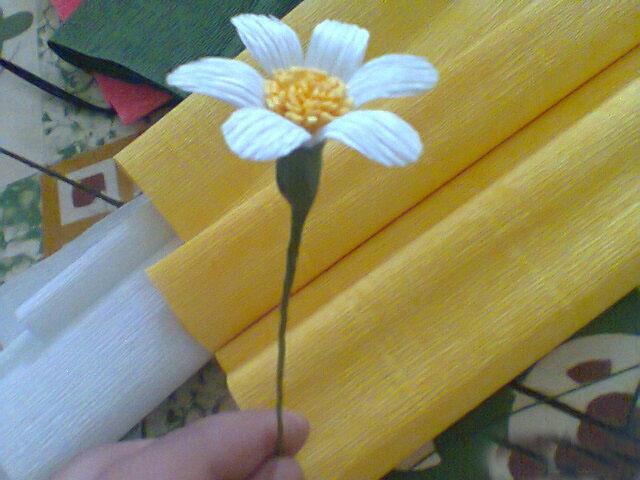 làm hoa cúc bằng giấy nhún