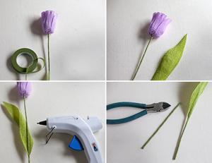 Cách làm hoa tulip bằng giấy nhún bước 5