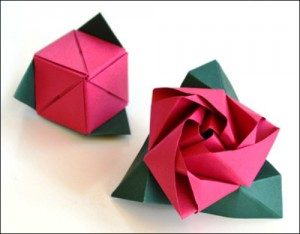 cach gap hoa hong ma thuat origami