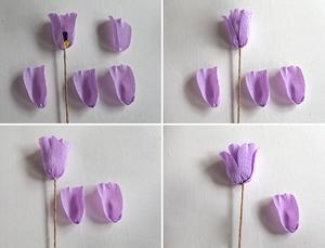 Cách làm hoa tulip bằng giấy nhún bước 3