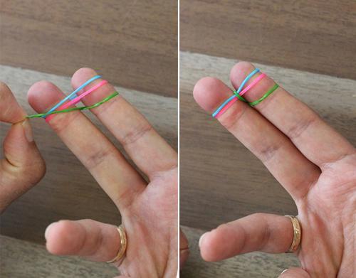 Tết vòng đeo tay từ dây chun bước 2