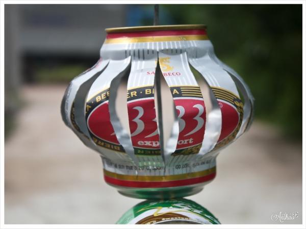 cách làm đèn bằng lon bia